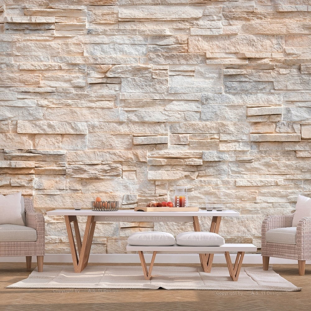 Clear wallstone wallpaper for a unique interior decoration