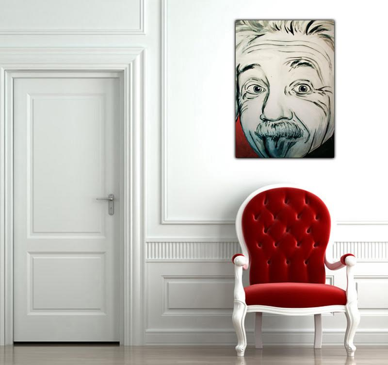 The famous professor Einstein on a design canvas with a drawing style for a modern interior