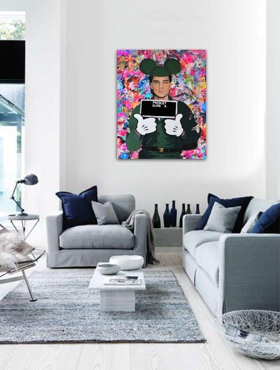 Tableau pop art elvis presley mickey pour un intérieur déco
