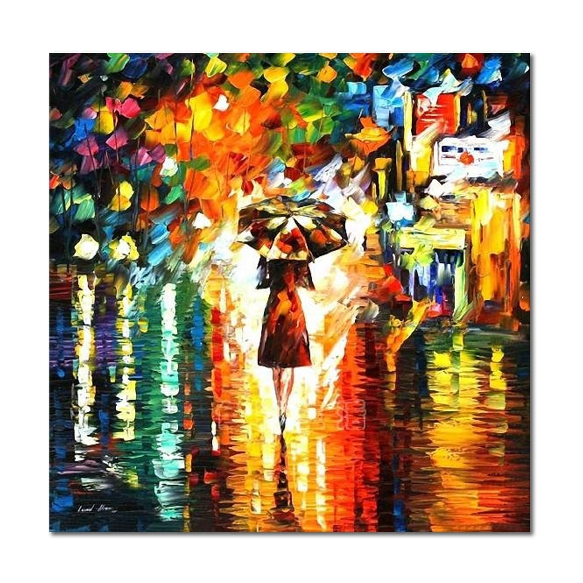Toile peinture au couteau contemporaine et colorée d'une femme avec son parapluie