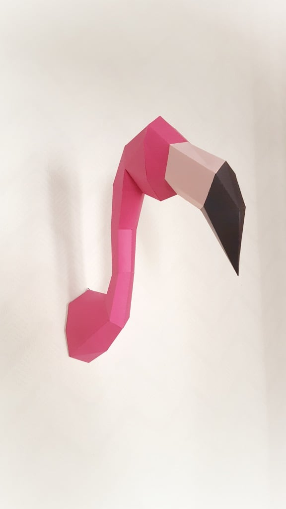 Wall paper trophy of a flamingo for interior decoration