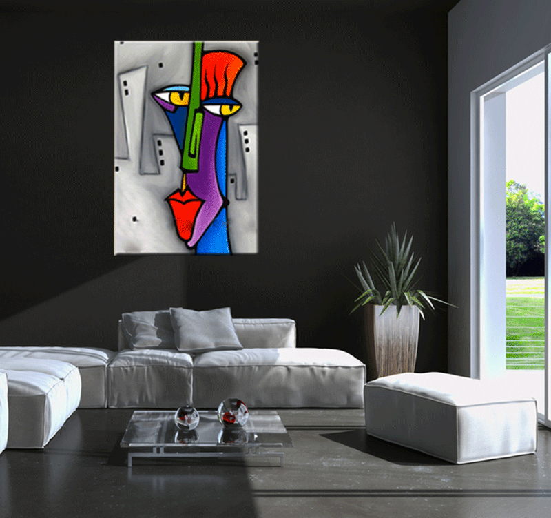 Pop art face tableau abstrait for Deco salon design contemporain