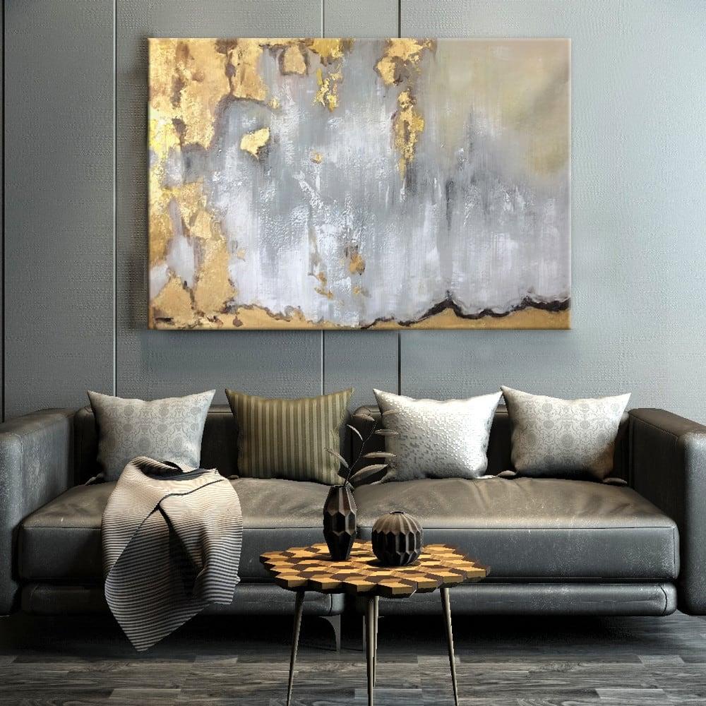 Toile peinture contemporaine d'artiste en or et gris