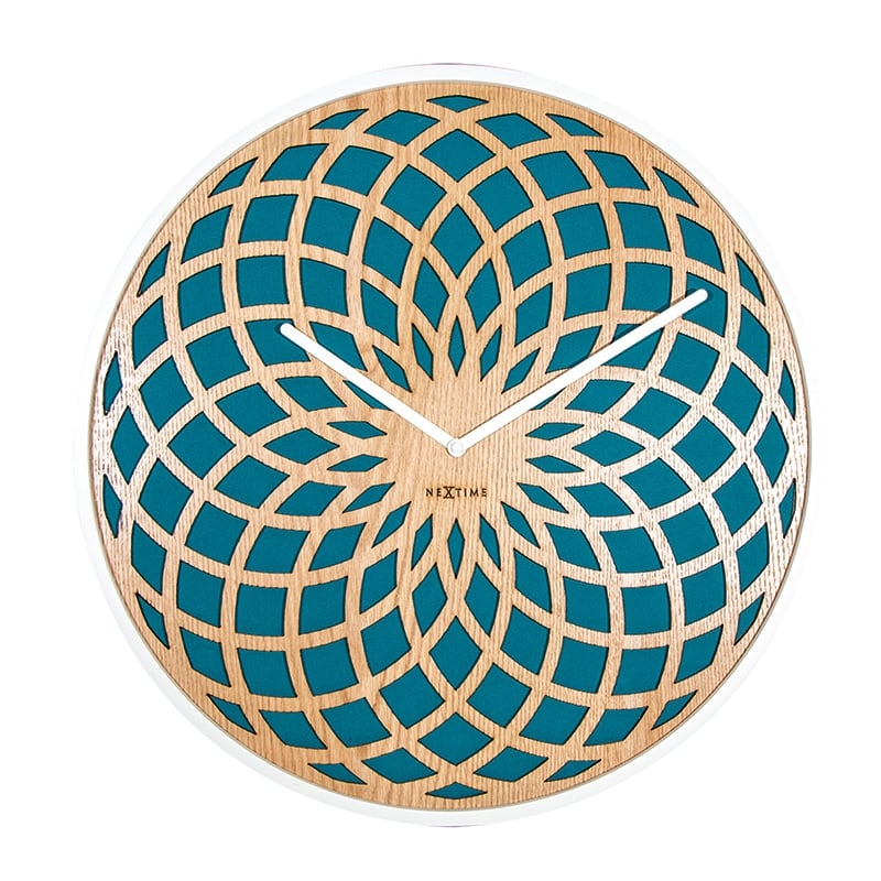 Design wall clock made by wood turquoise for modern interior