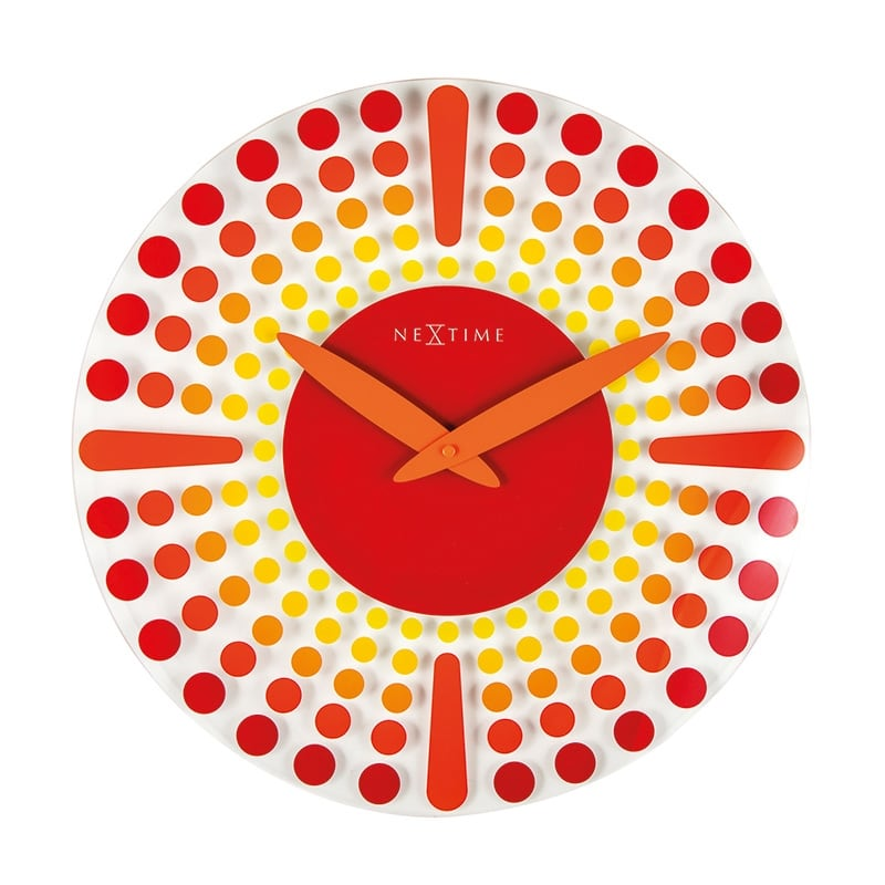 Horloge murale verre red artwall and co - Horloge murale cuisine rouge ...
