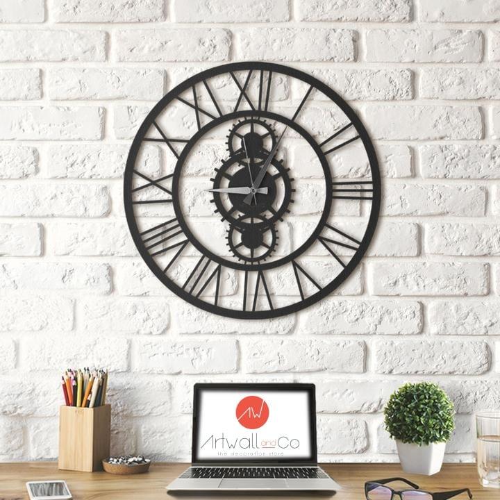 Horloge murale métal moderne en forme de rouages
