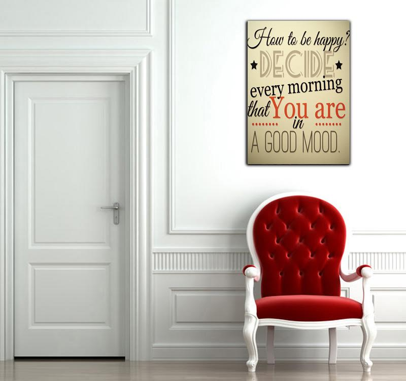 Quote canvas print to be happy in your interior decoration with a colored artwork