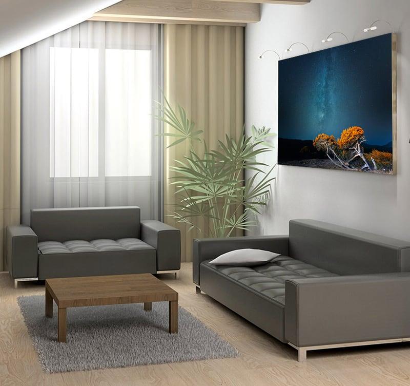 Présentation de notre tableau aluminium photo insomnie dans un salon moderne afin de créer une ambiance unique