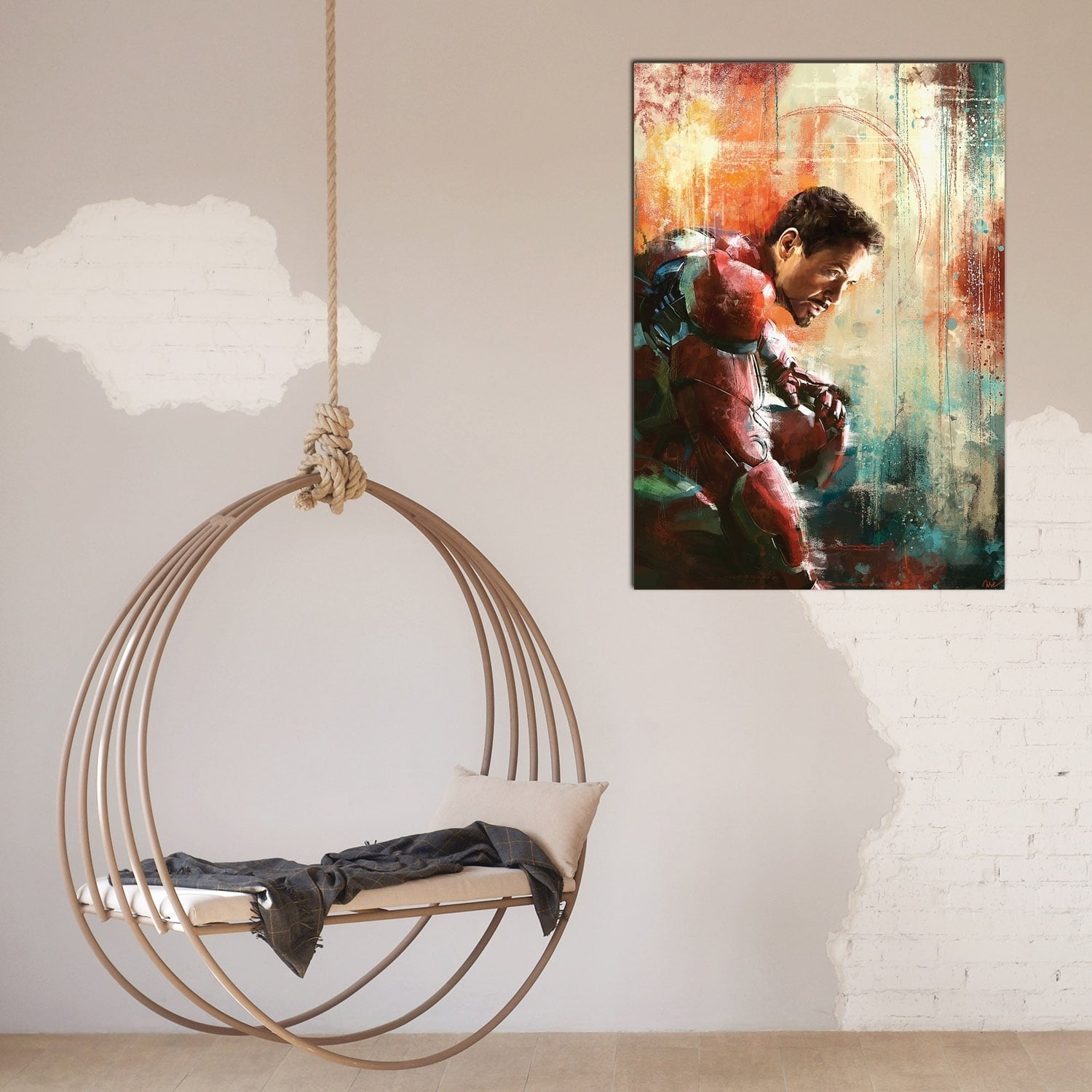 Iron man design wall decoration for interior