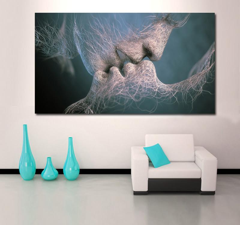 Tableau design invisible kiss artwall and co - Tableau contemporain abstrait design ...