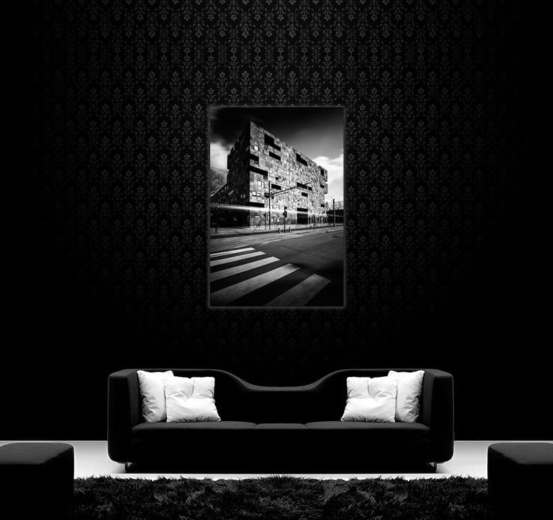 Magnifique photo d'art moderne d'un immeuble aux formes cubiques pour une décoration murale design