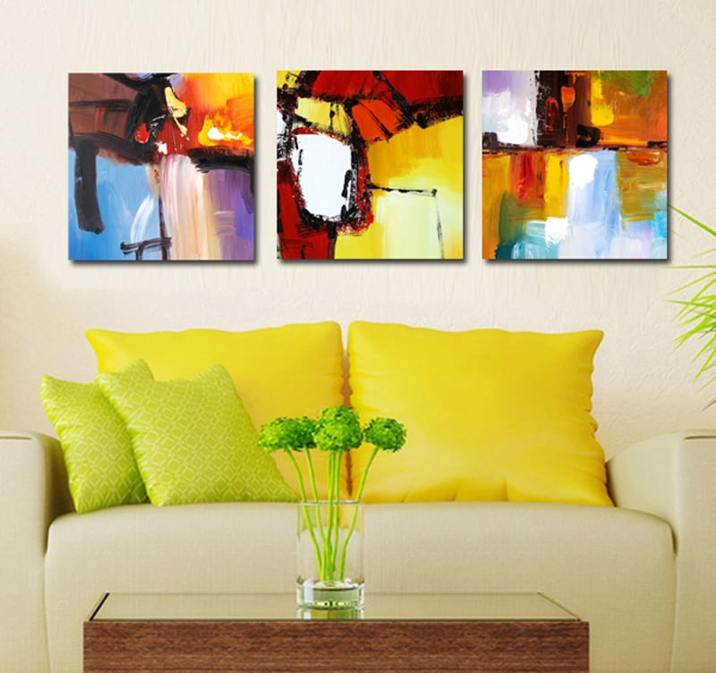 Paysage de couleurs tableau abstrait artwall and co for Decoration simple pour salon