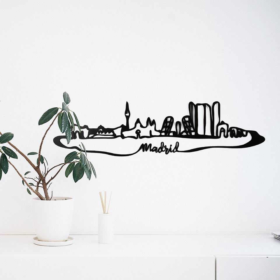Madrid skyline wooden wall decoration for a unique interior