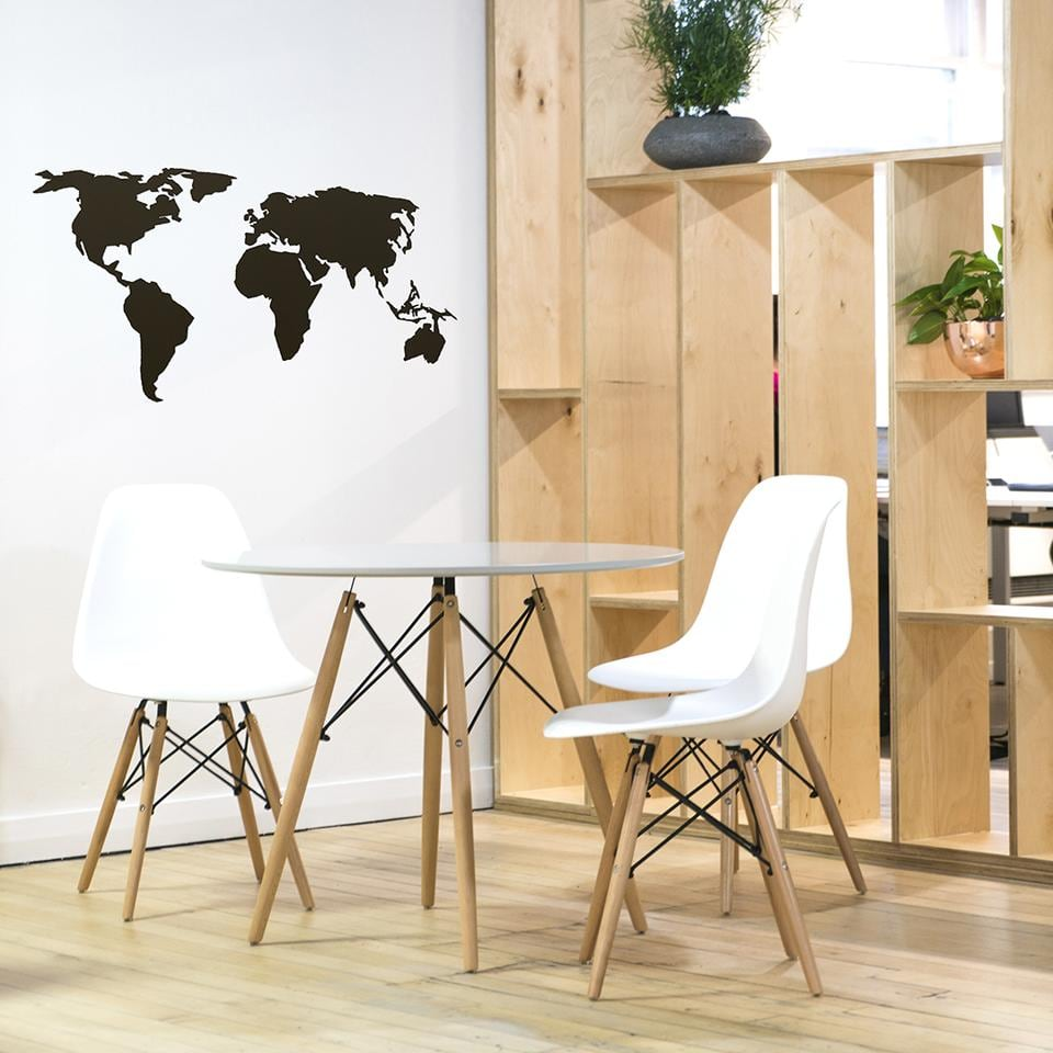Modern worldmap in black design for a unique wooden wall decoration