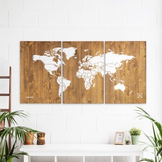 Decoration bois mappe monde XL pour un intérieur moderne et original