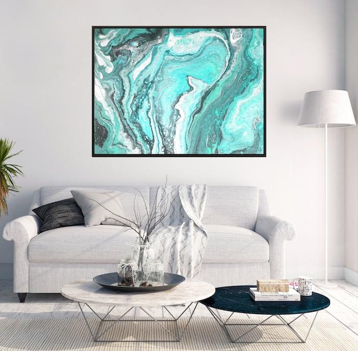 Tableau marbre bleu fondu pour une décoration murale abstraite