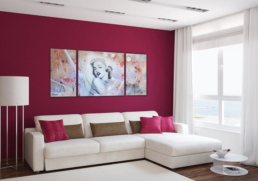 Modern oil painting of the actress Marilyn Monroe on a design wall decoration