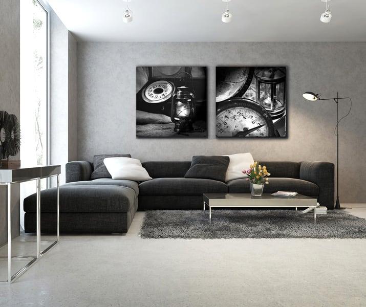 Un tableau déco en deux panneaux dans un salon décoré avec goût