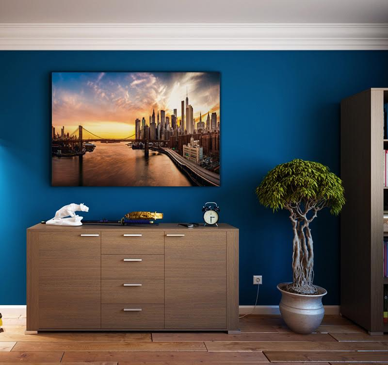 A beautiful interior decoration of New York to have a view of the bridge to illuminate your home