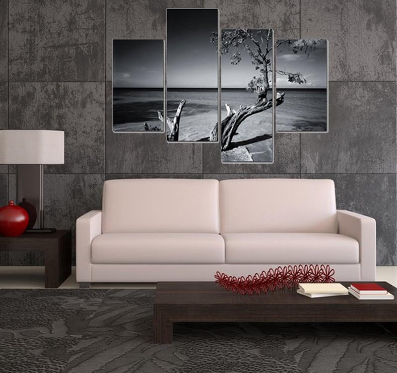Salon avec canapé moderne et notre tableau tendance