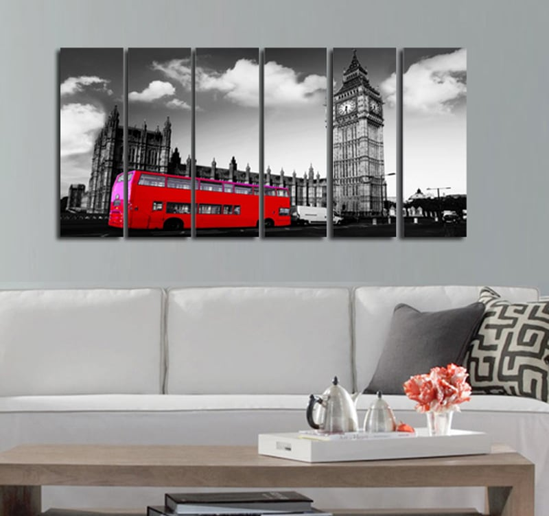 tableau ville bus de londres artwall and co. Black Bedroom Furniture Sets. Home Design Ideas