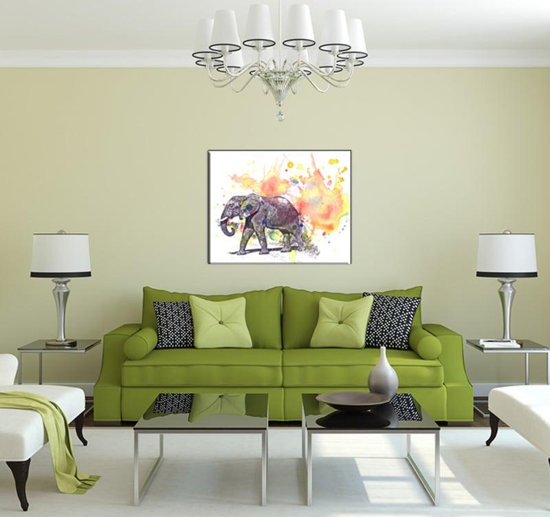 Salle à manger moderne avec notre tableau contemporain d'éléphant