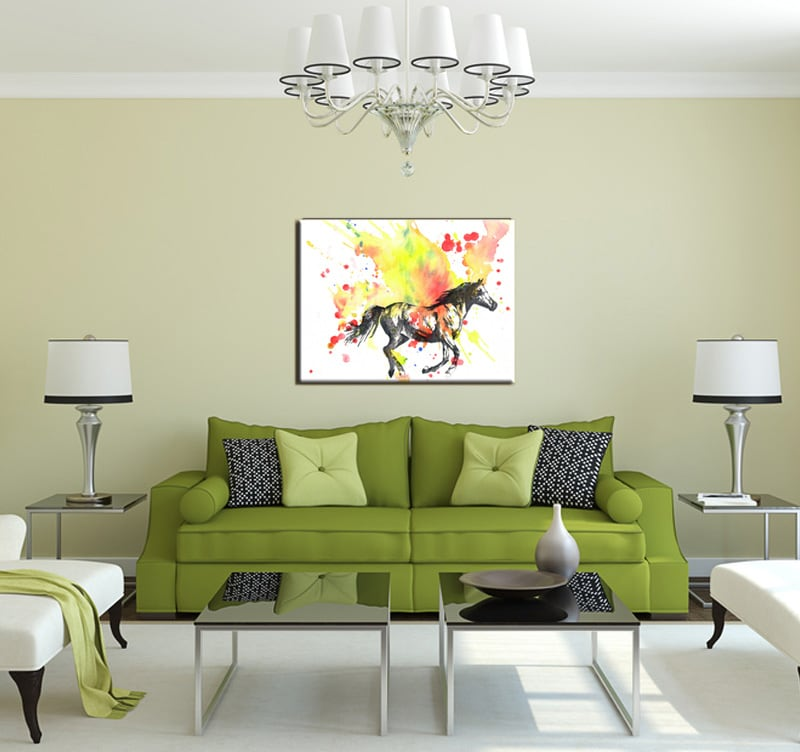 Tableau design cheval multicolore artwall and co - Tableau design pour salon ...