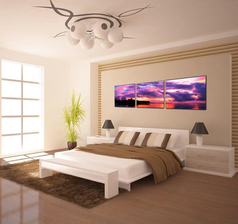 Tableau design paysage violet en trois panneaux dans un style contemporain
