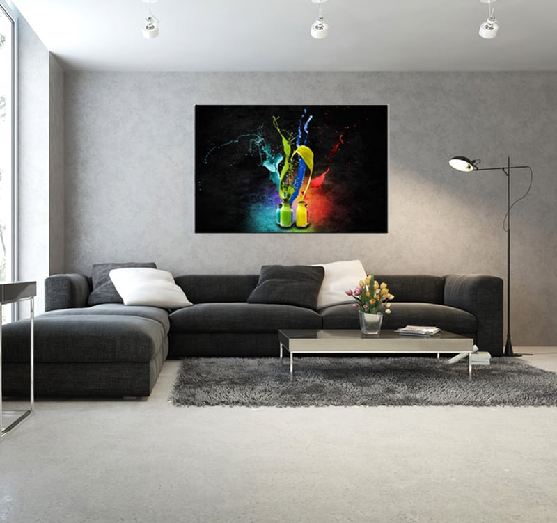 Tableau contemporain peinture de couleur artwall and co for Decoration murale tendance