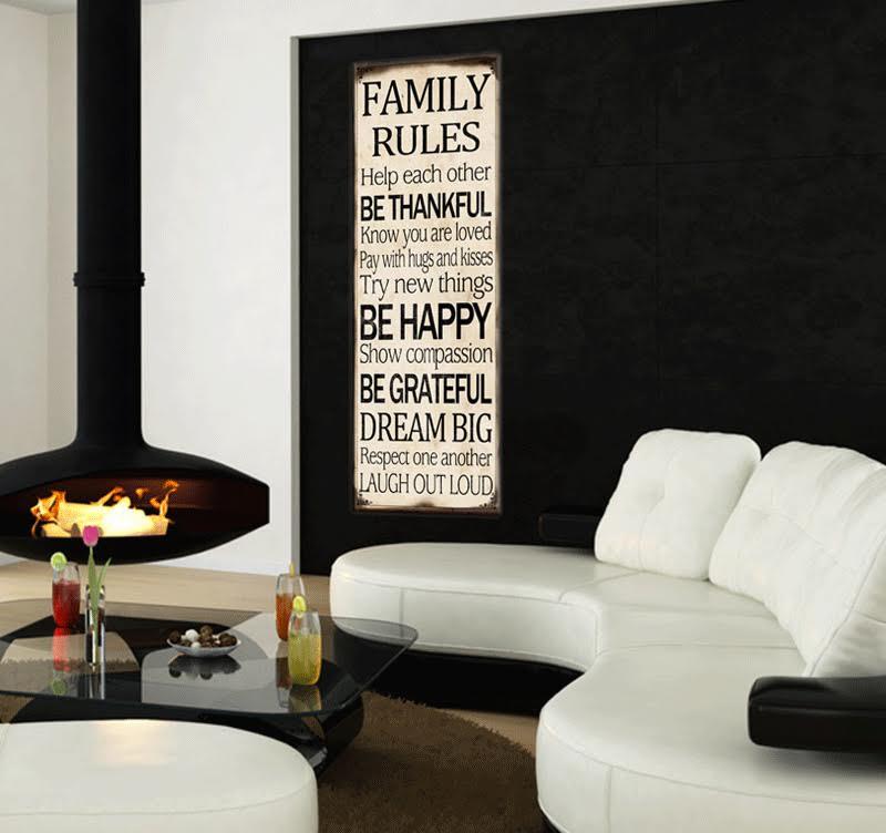 Tableau tendance des Mots doux pour la famille dans un salon ...