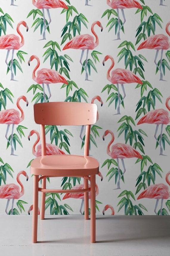 Papier peint aquarelle flamant rose pour un intérieur unique