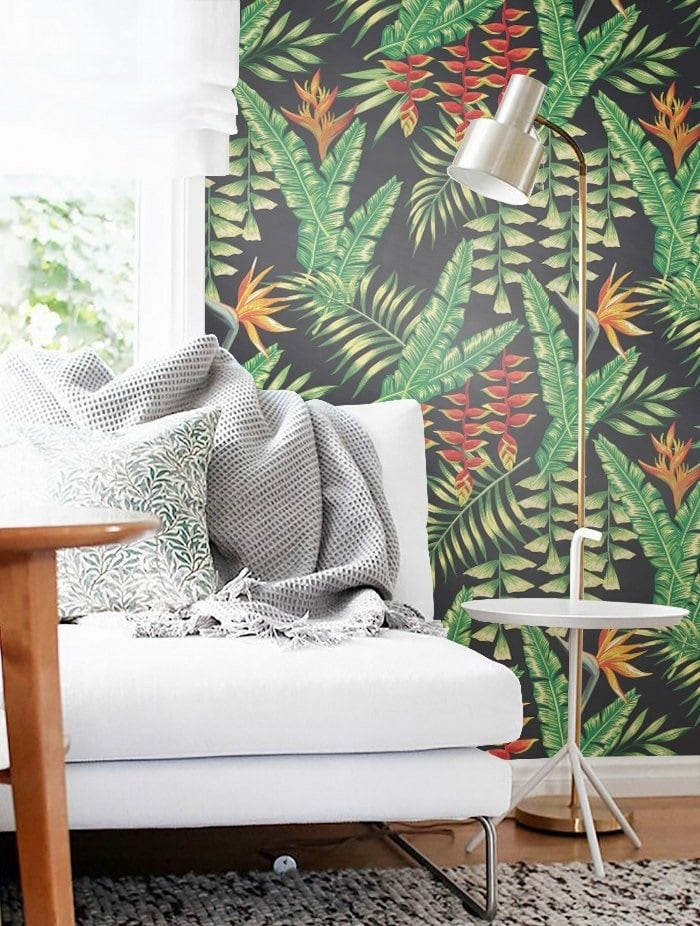 Heliconia wall paper for a contemporay touch into your wall decoration