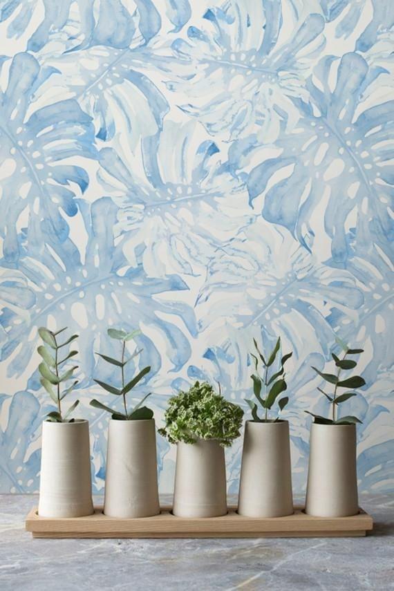 Papier peint monstera bleue pour une décoration murale unique