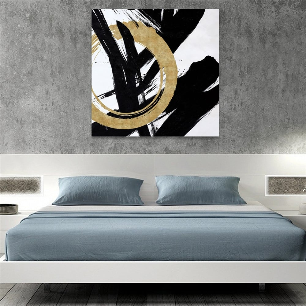 Peinture murale sur toile moderne calligraphie gold