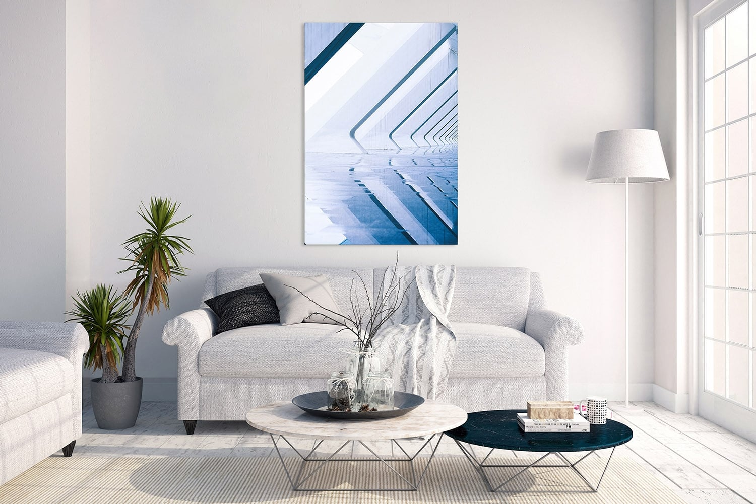 Contemporary pool art photo on aluminium for trendy interior