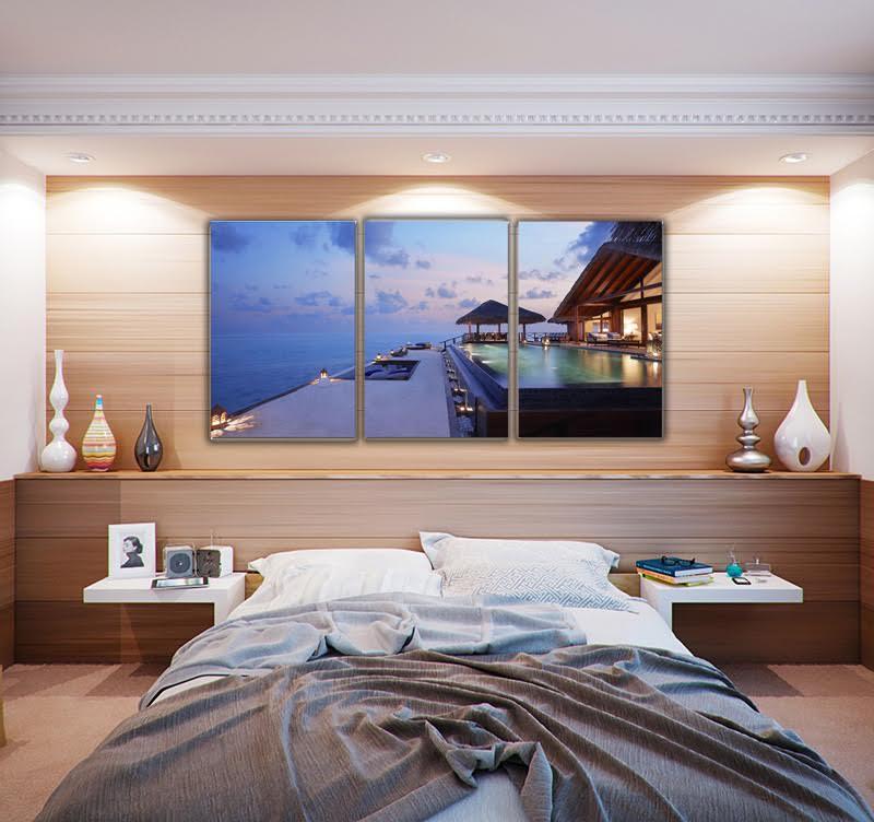 Magnifique chambre moderne avec notre toile imprimée design d'une villa avec piscine sur la mer