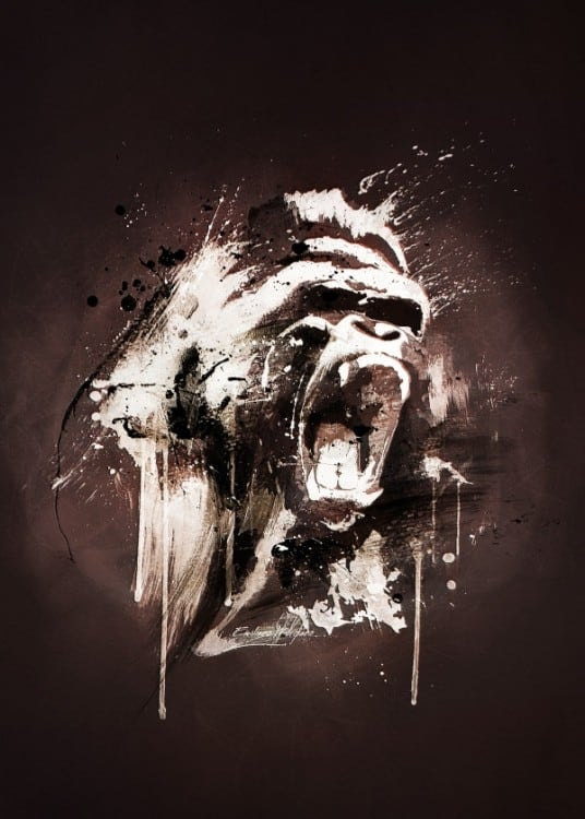 Gorilla metal wall poster for an animal interior