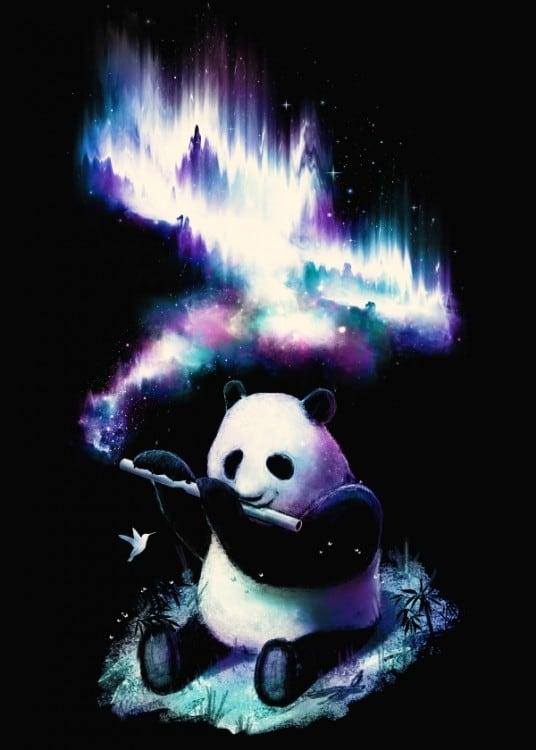 Poster en métal collector d'un panda coloré jouant de la musique