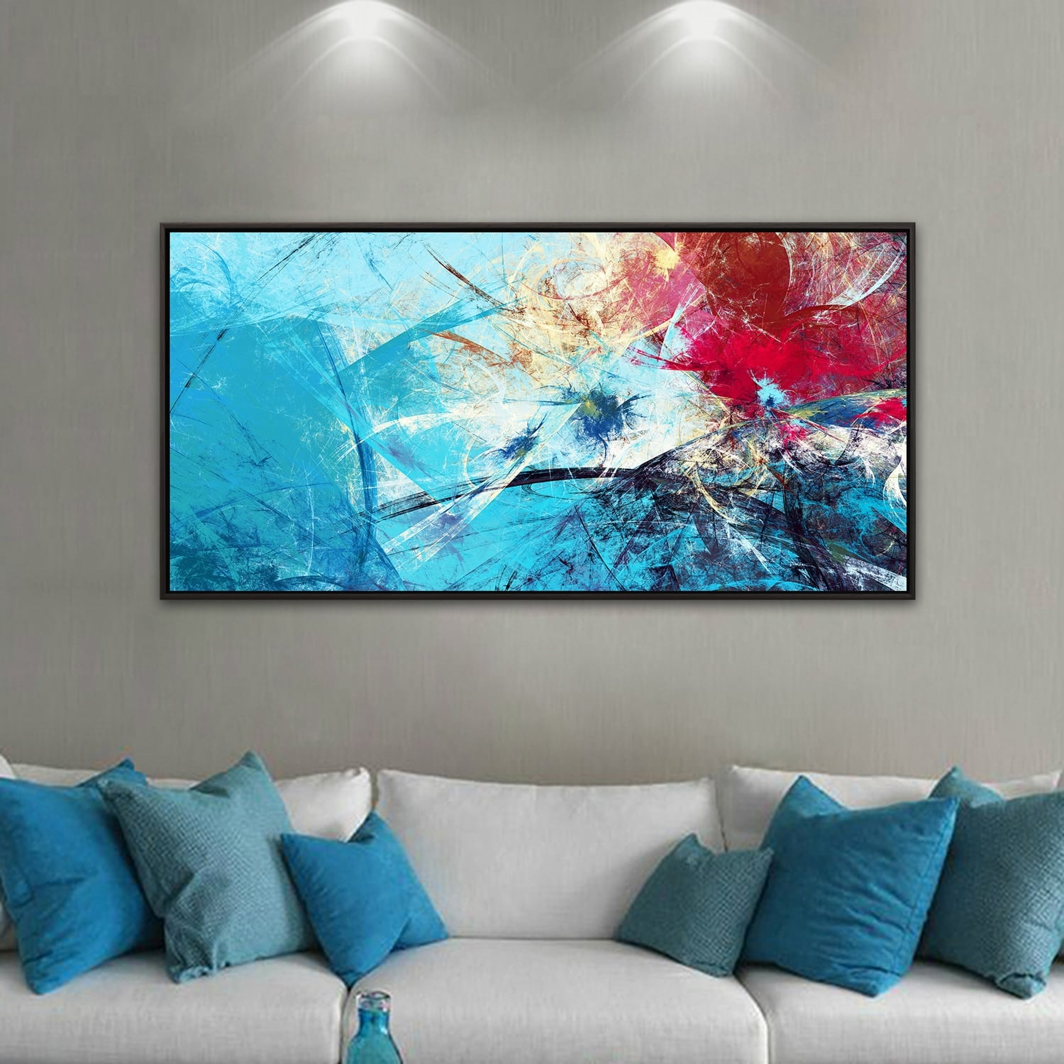 Symphony blue abstract canvas with frame for a trendy wall decoration