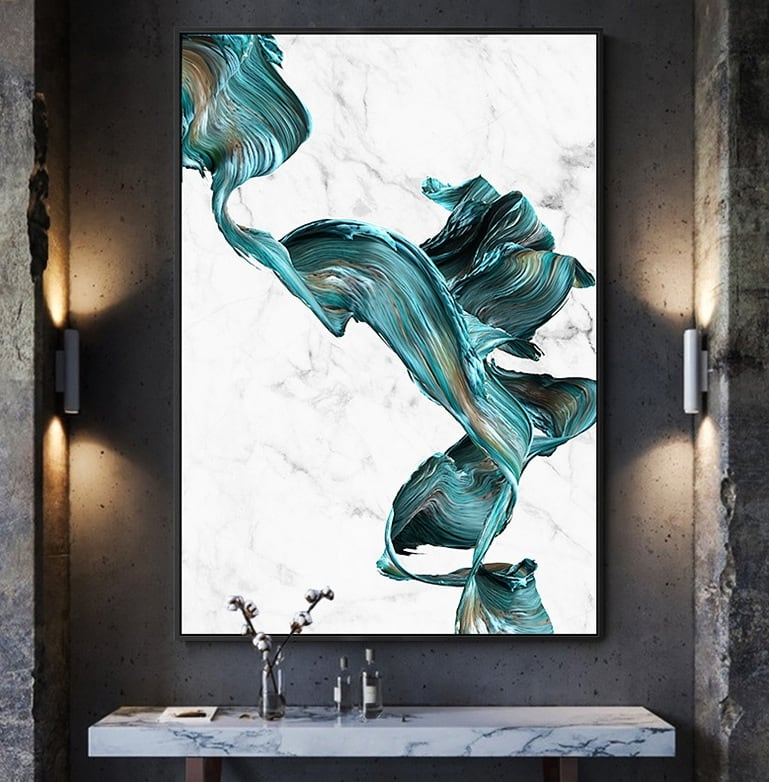 Abstract canvas print with design marble for interior