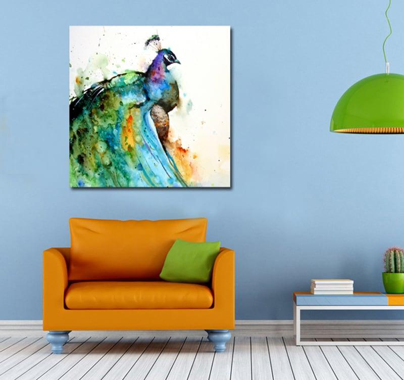 Multicolore Paon colorful art print