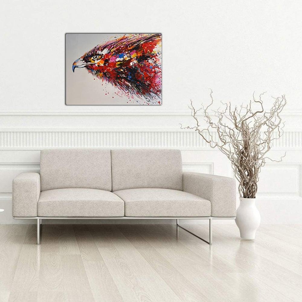 Toile peinture design d'un aigle multicolore pour une déco moderne