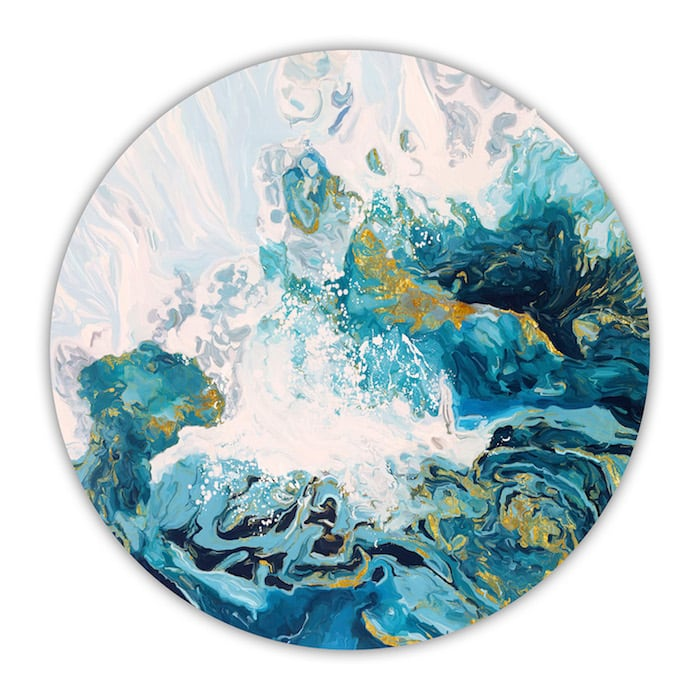 Round modern canvas with an abstract blue design