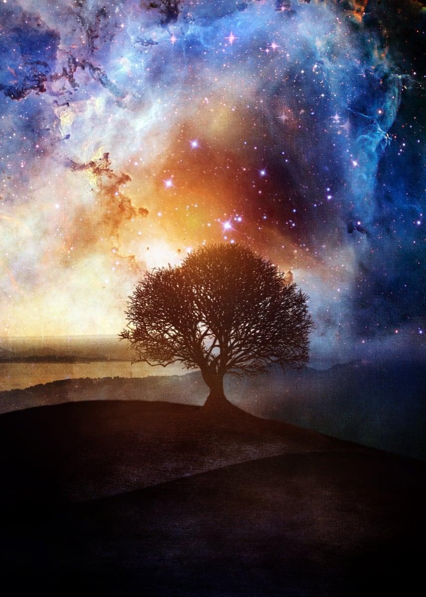 Poster mural en métal du ciel étoilé avec aurores boréales