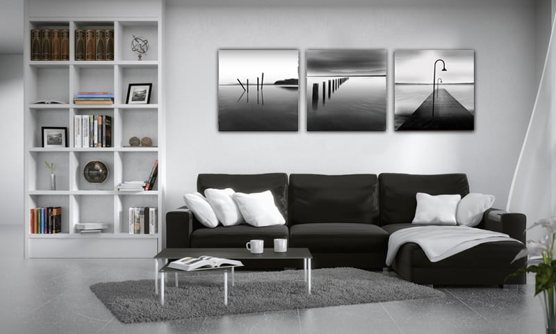 Black and white Ocean modern triptych