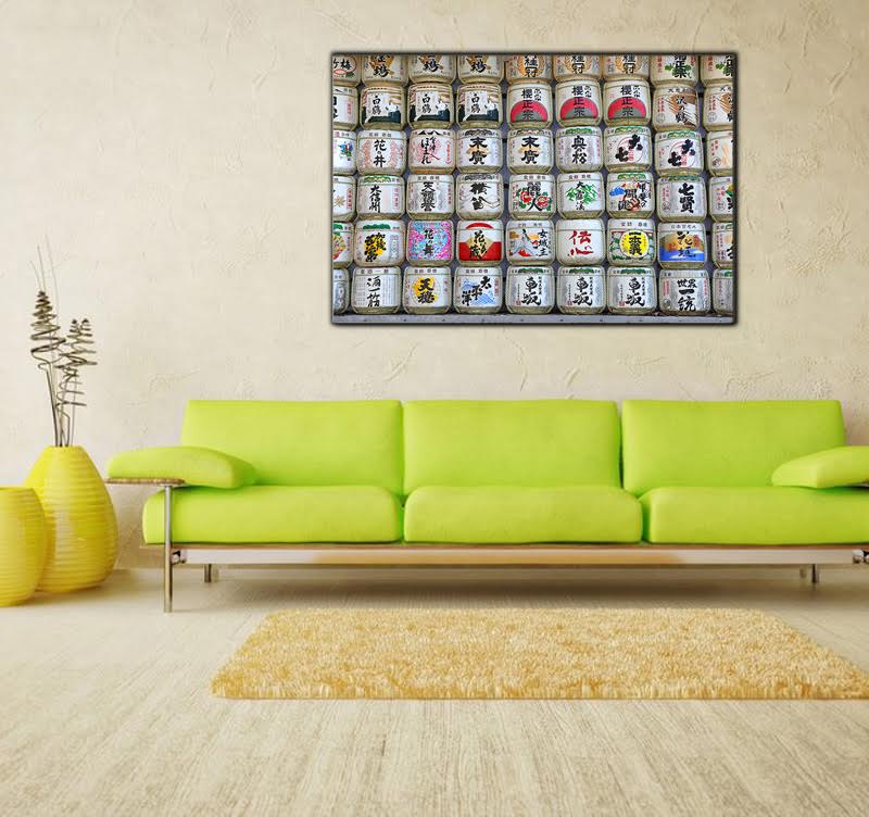 Interior decoration on aluminium of Tokyo with the famous alcohol sake for interior decoration