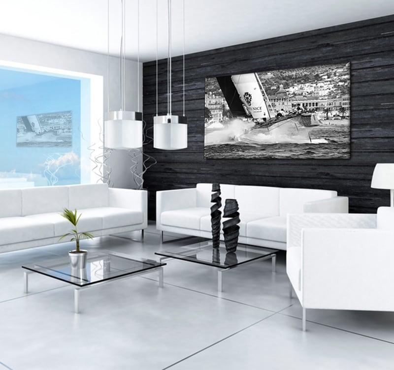 Salon tendance avec notre tableau voilier dans un environnement design