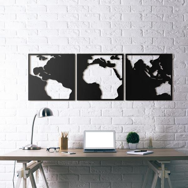 A black wall decoration on the world for a design interior