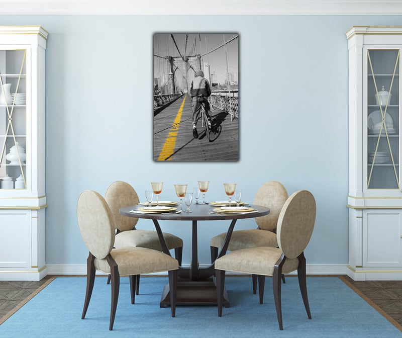 A Cyclist on the Brooklyn Bridge deluxe art photograph