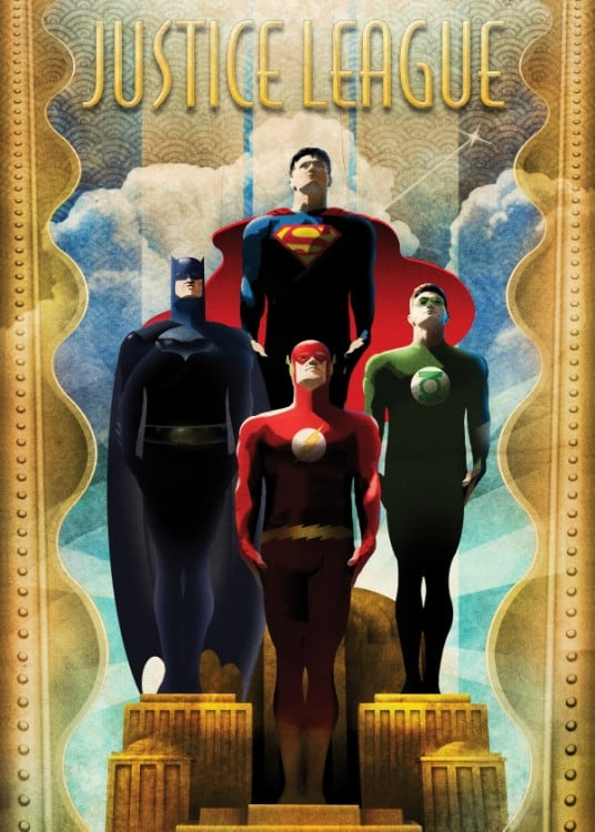 Retro vintage poster of the justice league and superman